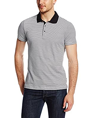 Calvin Klein Sportswear Men's Fine Stripe Liquid Cotton Polo Shirt, White, Medium