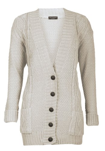 Forever Women's Cable Knitted Grandad Button Cardigan