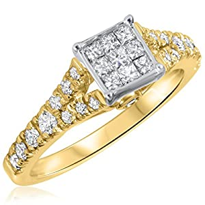 3/4 CT. T.W. Diamond Ladies Engagement Ring 14K Yellow Gold- Size 5