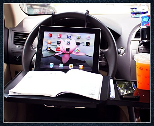 Zone Tech Multi-Functional Portable Car Seat Tray - Black Table/Car Vehicle Seat Portable Mount Tray Laptop Notebook Table Eating Desk Auto Food Drink Cup Holder with Extended Pull Type Small Table (Truck Computer Mount compare prices)