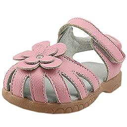 Orgrimmar Girls Genuine Leather Solid Flower Sandals (Toddler, Little Kid) (Little kid 11, Pink)