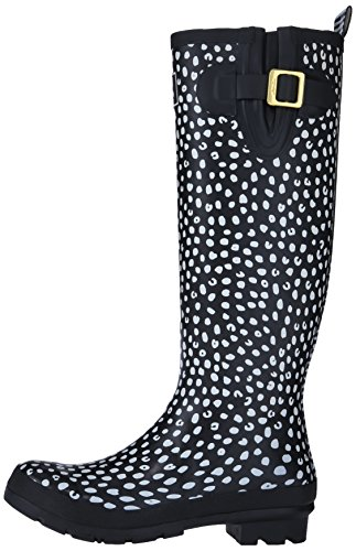 Joules U_wellyprint, Damen Stiefel, Schwarz - Black/White Spots, 39 EU (6 UK) -