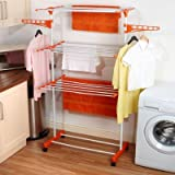 Hi Quality 3 Layer 24 Rods Cloth Rack Laundry Hanger With Wheels For Drying Clothes