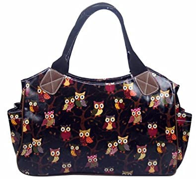 Stylish Designer Oilcloth Vintage Retro Owl Print Polka Dots Flowers Floral Ladies Day Bag Shoulder Shopper Tote School Travel Bag Weekend Bag Hand Bag (Black Owl)