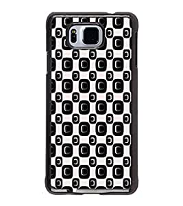 iFasho Modern Theme of black and white Squre and dots pattern Back Case Cover for Samsung Galaxy Alpha