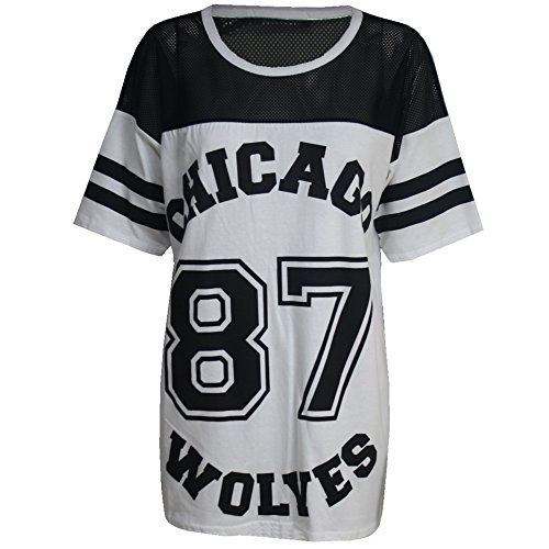 da donna Chicago 87 lupi larghi Oversize Baseball T-Shirt vestito lungo Top