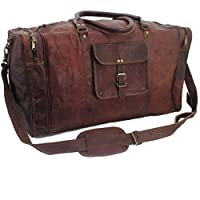 "Genuine Leather Bag ShopTM 24""x12x10 Mens Vintage Style End Compartment Duffel"