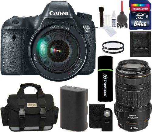 Canon Eos 6D Digital Camera With 24-105Mm F/4.0L Is Usm Af Lens With Ef 70-300Mm Is Usm Lens + 64Gb Card + Battery + Camera Case + Filters + Remote + Accessory Kit