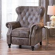 Waldo Tufted Wingback Recliner Chair(Warm Stone)