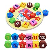 Wooden Shape Sorting Clock Learn to Tell Time Toy Counting with Numbers Puzzle for Toddler 2 Year Olds