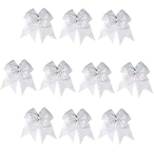 CN 10pcs 7 Inch Girls Big Hair Bow Rhinestone Cheer Bow Attached Elastic Hair Tie for Cheerleader (Cheer Pack compare prices)