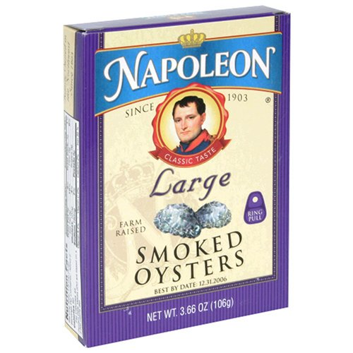 Buy Napoleon Large Smoked Oysters, 3.66 Ounce Tin (Pack of 25) (Napoleon, Health & Personal Care, Products, Food & Snacks, Canned & Packaged Goods, Seafood, Oysters)