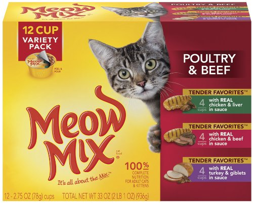 Meow Mix Tender Favorites Poultry & Beef Variety Pack,  2.75-Ounce Cups (Pack of 48)