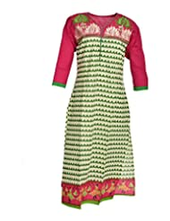 Global Women's Cotton Straight Kurta (GW71WG44015, Multi, 44)