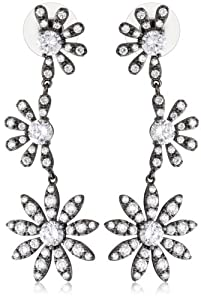 """CZ by Kenneth Jay Lane """"Floral Cubic Zirconia"""" Rhodium-Plated Daisy Vine Earrings"""