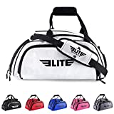 Elite Sports Warrior Boxing MMA BJJ Gear Gym Duffel Backpack Bag with Shoe Compartment (Color: White, Tamaño: Medium)