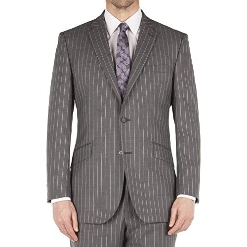 Suit Direct Aston & Gunn Grey Chalk Stripe City Suit - Classic Single Breasted Regular Fit Two Piece Suit