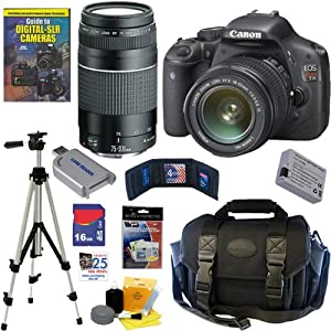 Canon EOS Rebel T2i 18 MP CMOS APS-C Digital SLR Camera with EF-S 18-55mm f/3.5-5.6 IS Zoom Lens & EF 75-300mm f/4-5.6 III Telephoto Zoom Lens + 16GB Deluxe Accessory Kit