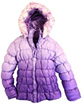 XOXO Girls Faux Fur Trim Quilted Shiny Ruffled Bubble Jacket - Ultra Violet (Size 14-16)