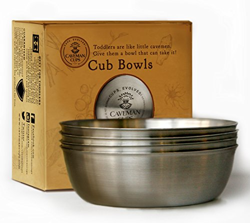 The Premium Stainless Steel Bowls For Feeding Baby Toddler Kids Snacks 4 Pack (Stainless Steel Childrens Bowl compare prices)