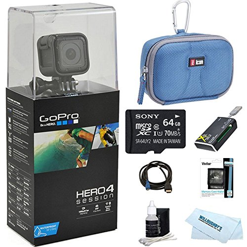 GoPro discount duty free GoPro HERO4 Action Camera Ready for Adventure Bundle Includes GoPro Hero 4, 64GB Micro SDXC Memory Card, Case, Card Reader, Memory Card Wallet, HDMI, Lens Cleaning Kit and Beach Camera Cloth