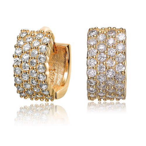 ClassicDiamondHouse 4 row CZ SMALL HUGGIE EARRINGS - Incl. ClassicDiamondHouse Free Gift Box & Cleaning Cloth