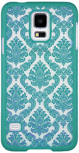 Sumaclife Frosted Lace Tpu Skin Cover For Samsung Galaxy S5 - Retail Packaging - Teal front-1050071