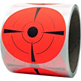 "Target Pasters 3"" Inch Round Adhesive Shooting Targets - Target Dots - Fluorescent Red and Black"