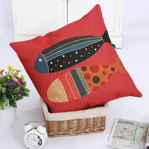 TFS Cotton Linen Leaning Cushion Covers Square 17.7*17.7 Throw Pillow Case,Colored fish 44x44cm letter cotton linen pillow case throw cushion cover home decor