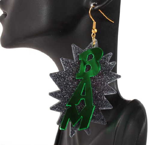 Green Bam 3 Inch Drop Earrings Basketball Mob Wives Poparazzi