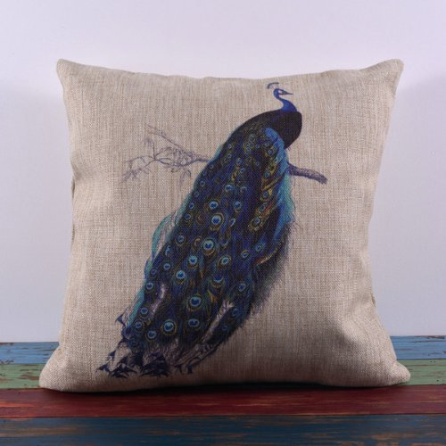 45*45Cm Beautiful Blue Peacock Peafowl Linen Cushion Covers Pillow Case Green Leaf front-1066137