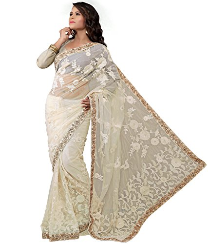 Ethics Fashion White Net Saree