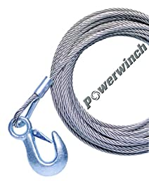 Powerwinch P1088200AJ 50\' Stainless Steel Universal Premium Replacement Cable with Galvanized Hook