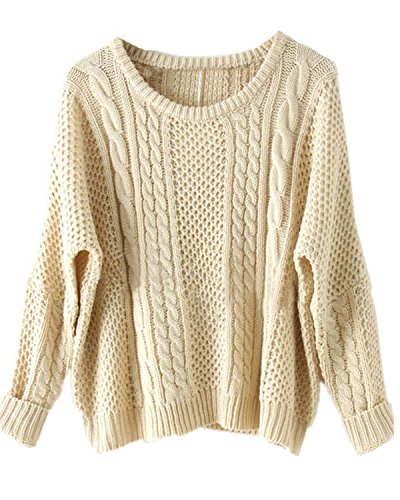 Sheinside Women Batwing Long Sleeve Pullovers Sweater (Free Size, Apricot)