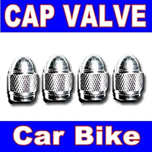 4 PC Tire Valve Caps Stem Car Auto Wheel Air BikeTyre Anti-Theft Metal Silver