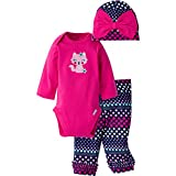 Gerber Girls' 3 Piece Bodysuit, Cap, and Pant Set, Fox2, 3-6 Months