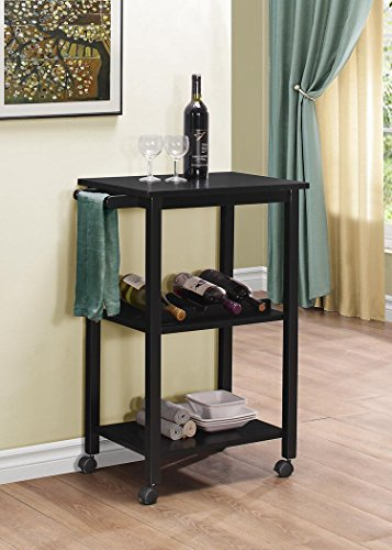 Kings Brand Furniture Wood Kitchen Storage Serving Cart Wine Rack, Black (Bar Cart Wood compare prices)