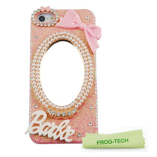 Frog-Tech Handmade Luxury 3D Mirror & Bow Barbie Letter Diamond Crystal Bling Pink Case Cover For Iphone 5C
