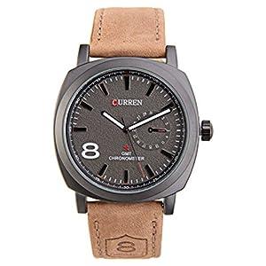PIXNOR® CURREN 8139 moda hombres ronda de cuarzo reloj de pulsera con caja de paquete la banda PU (negro) marca PIXNOR®