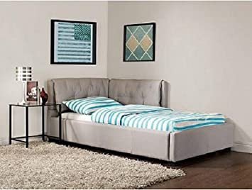 Stone Canvas Upholstered Twin Size Lounge Day Couch Bed Bedroom Furniture Decor.This versatile sleep-and-lounge piece goes from platform bed by night to cushy sofa by day.