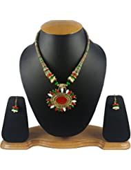 Aradhya Multi Color Designer Tibetan Style Necklace With Earrings For Women And Girls