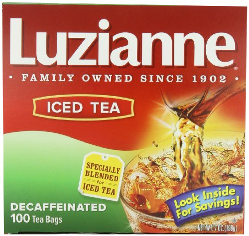 Luzianne Specially Blended For Iced Tea, Decaffeinated, 100-Count Tea Bags (Pack Of 4)