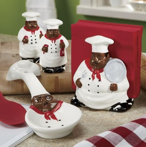 African American, Black Happy Bistro Chef Hand Painted Ceramic Table Top Set, 89025/28 By Ack back-277618