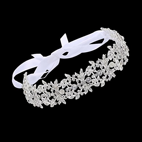 Babeyond® Bridal Handmade Luxury Rhinestone Wedding Party Hairband Hair Band Austrian Crystal Floral Leaf with Lace Ribbon