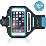 iPhone 6 ,6S,5,5S SPORTS ARMBAND- Great for Cycling ,Running, Workouts or any Fitness Activity , Sweat Proof - Build in Key + Id + Credit Cards - Blue-For Men & Women by DanForce