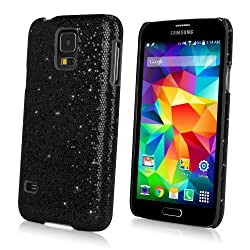Galaxy S5 Case, BoxWave® [Glamour & Glitz Case] Slim, Snap-On Glitter Cover for Samsung Galaxy S5 - Black Pearl