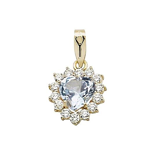 18k gold heart pendant aquamarine stone border zircons [AA4873]