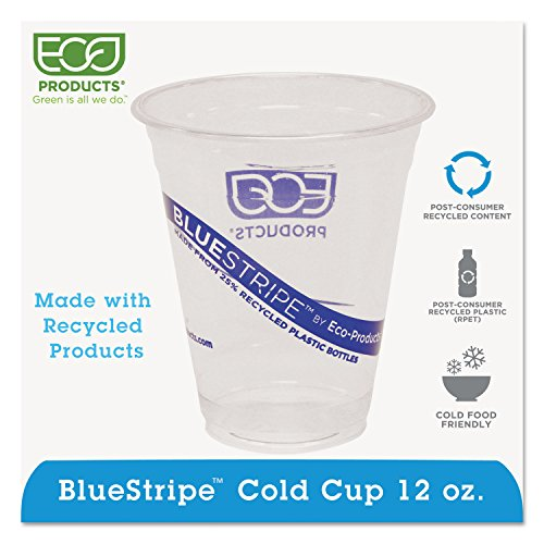 Eco Products EPCR12 Recycled Content Clear Plastic Cold Drink Cups, 12 oz., Clear, 1000/Carton