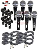 6 Pack of Cardioid Dynamic Vocal Hand-Held Microphones with XLR Mic Cables Clip Griffin
