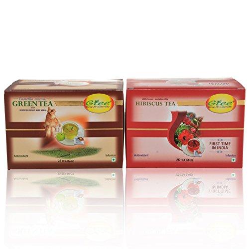 GTEE Green Tea Bags - Ginseng & Hibiscus Tea Bags (25 Tea Bags X 2PACKS)